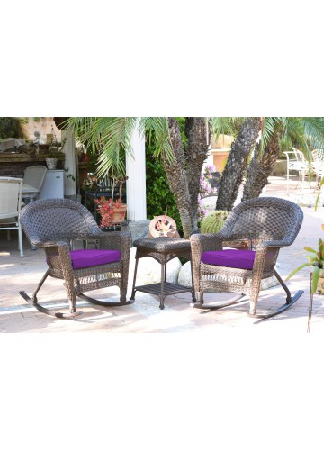 3pc Espresso Rocker Wicker Chair Set With Purple Cushion