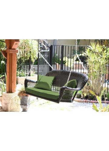Black Resin Wicker Porch Swing with Hunter Green Cushion