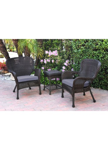 Windsor Espresso Wicker Chair And End Table Set With Steel Blue Chair Cushion