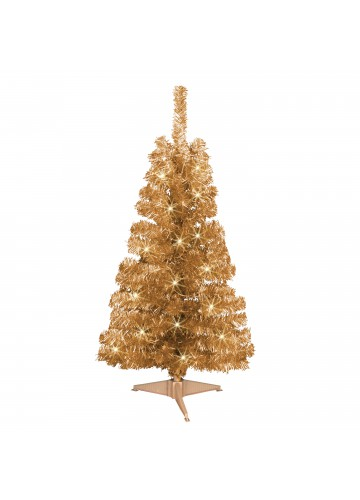 4ft. Pre-lit Champagne Tinsel tree