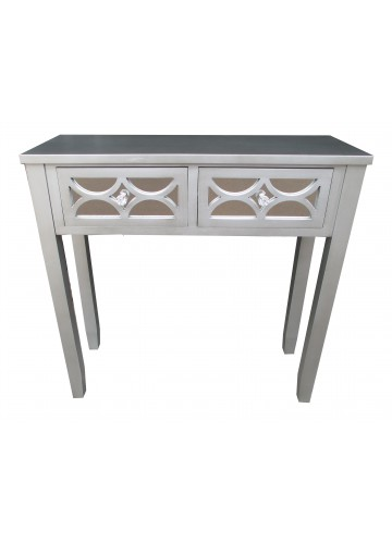 "32""H Grey Wooden 2 Drawer Console Table"