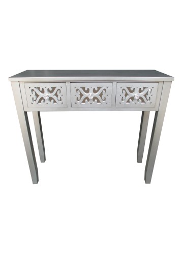32 Inch H Grey Wooden 3 Drawer Console Table