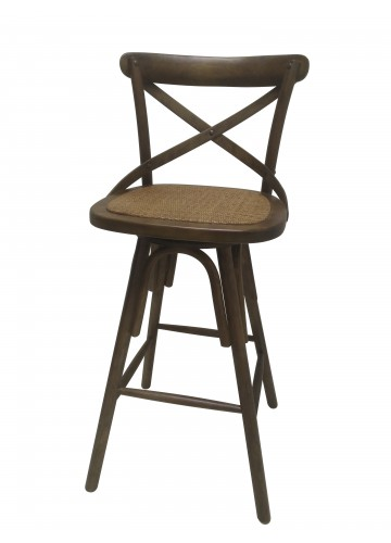 42 Inch H Brown Wooden Swivel Barstool