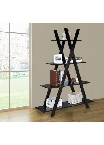 4 Tiers Cross Bookcase - Brown