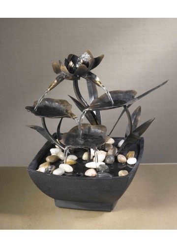 Cadono Metal Leaves Tabletop Fountain