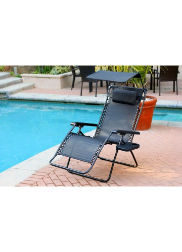 Oversized Zero Gravity Chair with Sunshade and Drink Tray - Black