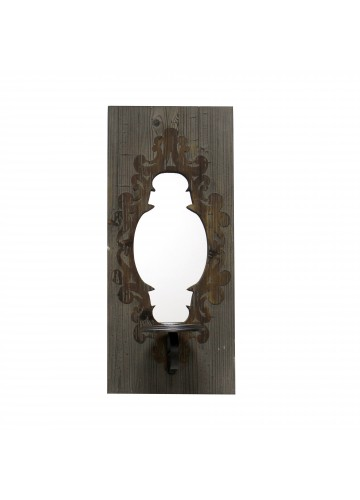 22 Inch Wall Mirror with Candle Holder- Blue
