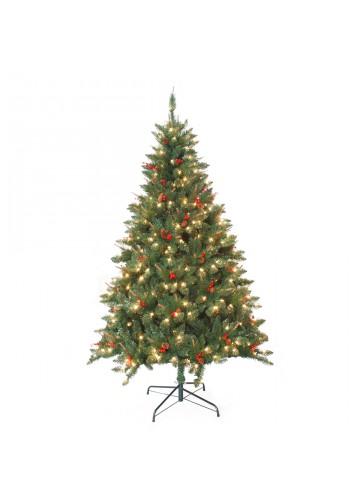7 Feet. Pre-Lit Berrywood Pine Artificial Christmas Tree
