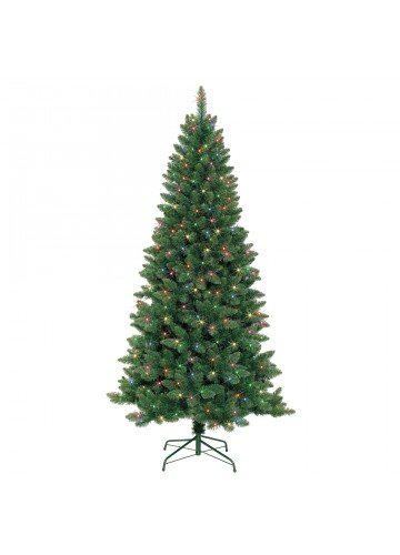 7 Feet. Slim Pre-Lit Artificial Christmas Tree With Metal Stand