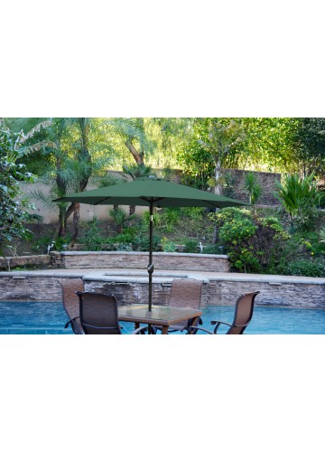 6.5' x 10' Aluminum Patio Market Umbrella Tilt with Crank - Green Fabric/Black Pole