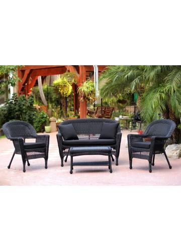 Black Patio Set Covers: 4pc Black Wicker Conversation Set