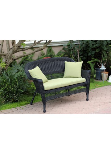 Black Wicker Patio Love Seat With Sage Green Cushion and Pillows