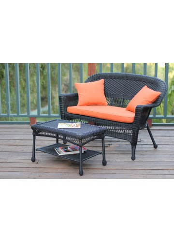 Black Wicker Patio Love Seat And Coffee Table Set With Orange Cushion