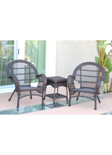 3pc Santa Maria Espresso Wicker Chair Set Without Cushion
