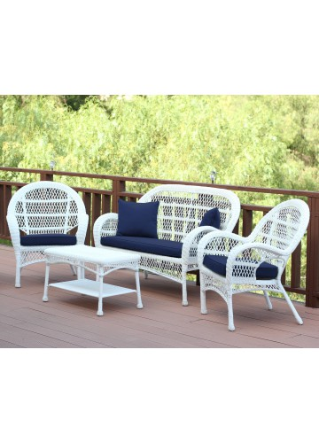 4pc Santa Maria White Wicker Conversation Set - Midnight Blue Cushions