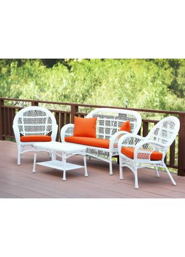 4pc Santa Maria White Wicker Conversation Set - Orange Cushions