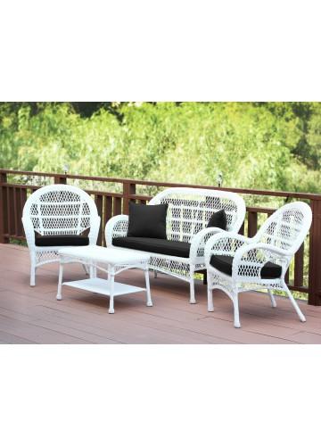 4pc Santa Maria White Wicker Conversation Set - Black Cushions