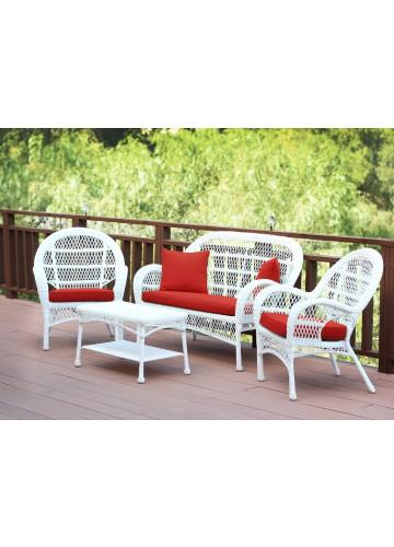 4pc Santa Maria White Wicker Conversation Set - Brick Red Cushions