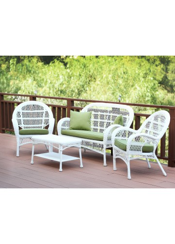 4pc Santa Maria White Wicker Conversation Set - Sage Green Cushions