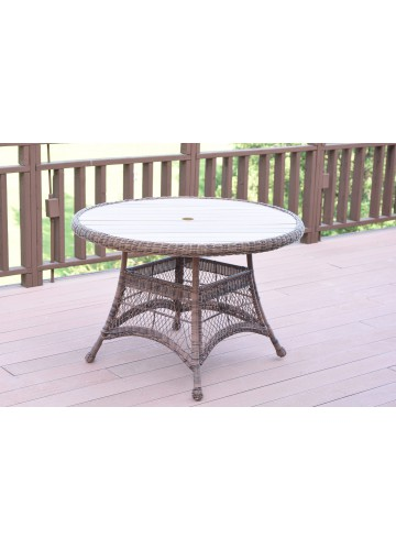 Honey Wicker 44Inch Round Dining Table with Faux Wood