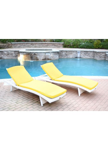 White Wicker Adjustable Chaise Lounger with Mustard Cushion - Set of 2