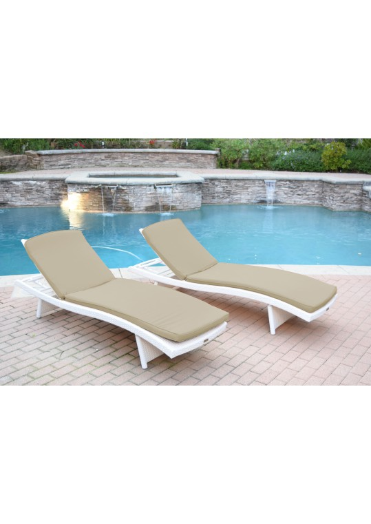 White Wicker Adjustable Chaise Lounger with Tan Cushion - Set of 2