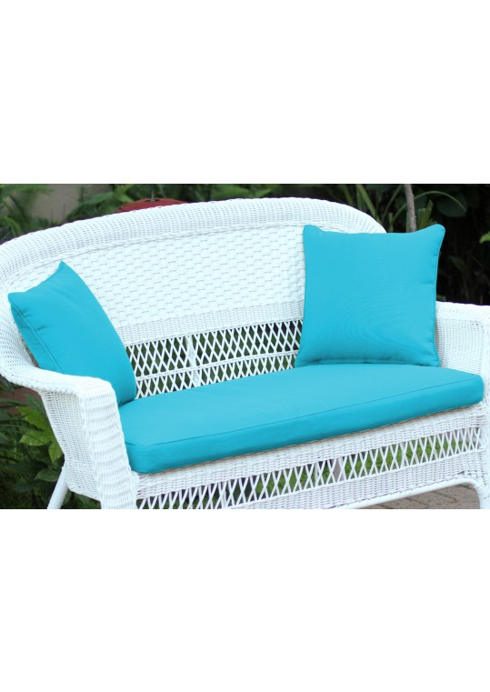 Sky Blue Loveseat Cushion with Pillows