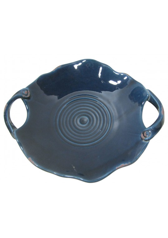 Blue Ceramic Plate with Blue Handle
