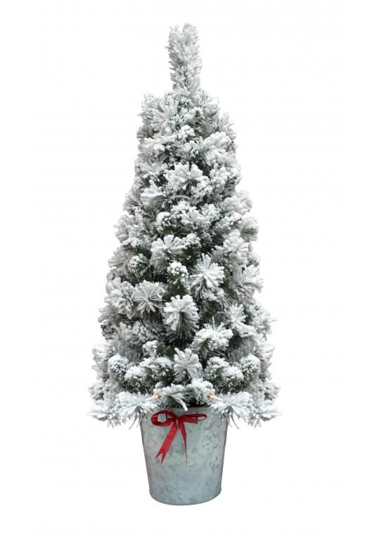 4FT Flocked Pot Christmas Tree