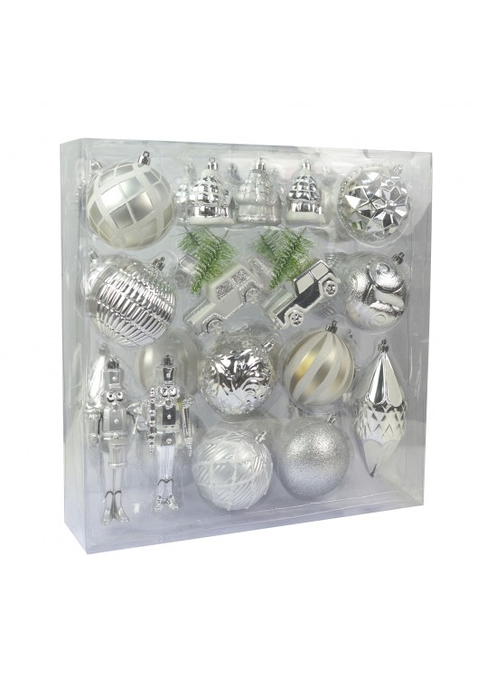 36 Pcs Mix Christmas Ornament-Silver Ans White