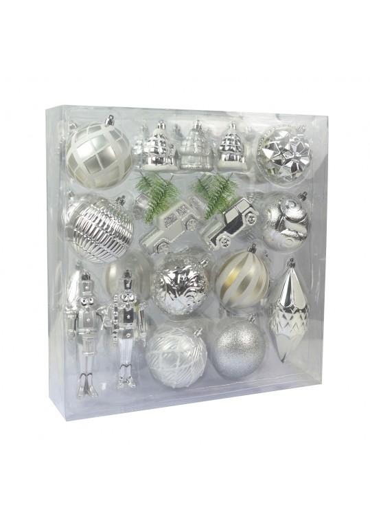 36 Pcs Mix Christmas Ornament-Silver Ans White