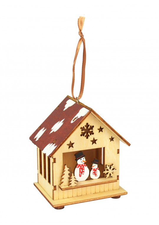 Wooden Christmas Scene Led Hanging Ornament