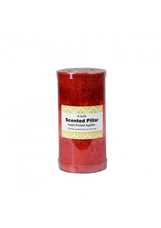 3 x 6 Inch Tritone Red Scented Pillar Candle(12pcs/Case)