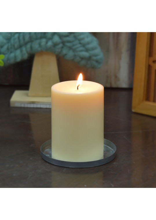 3 x 4 Inch Ivory Pillar Candles - Set of 6