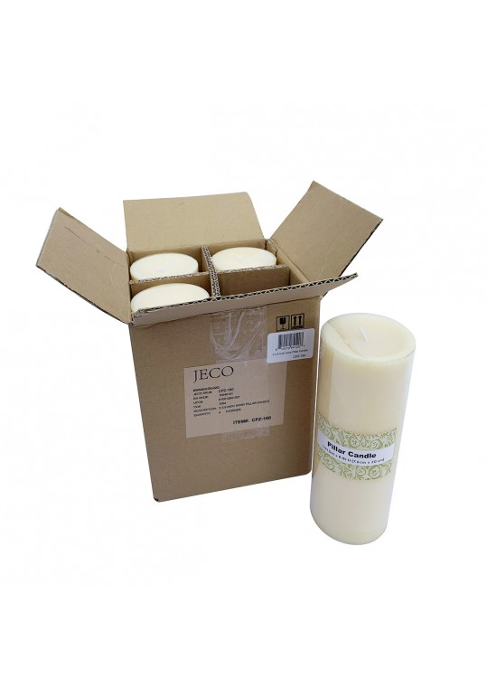 3 x 8 Inch Ivory Pillar Candles - Set of 4
