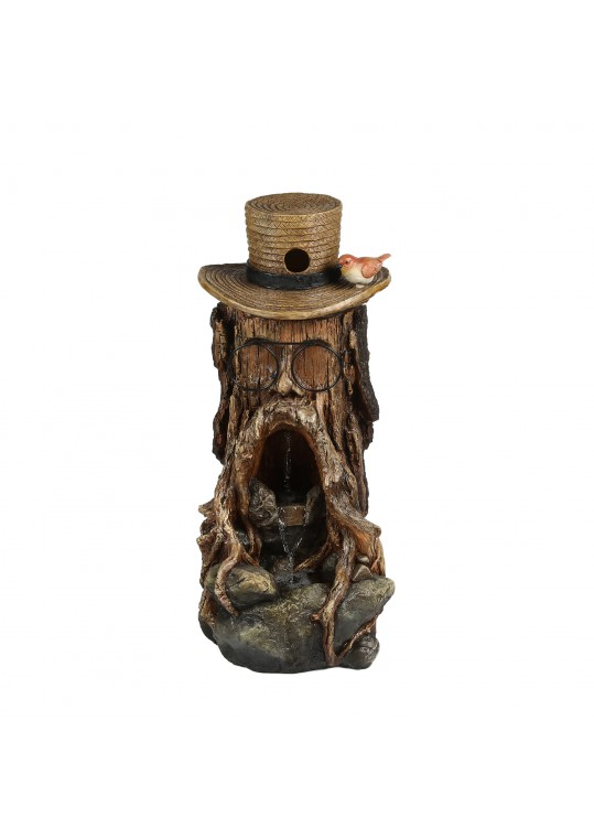 31 Inch Tree Stump Face Fountain with Led Light and Bird House