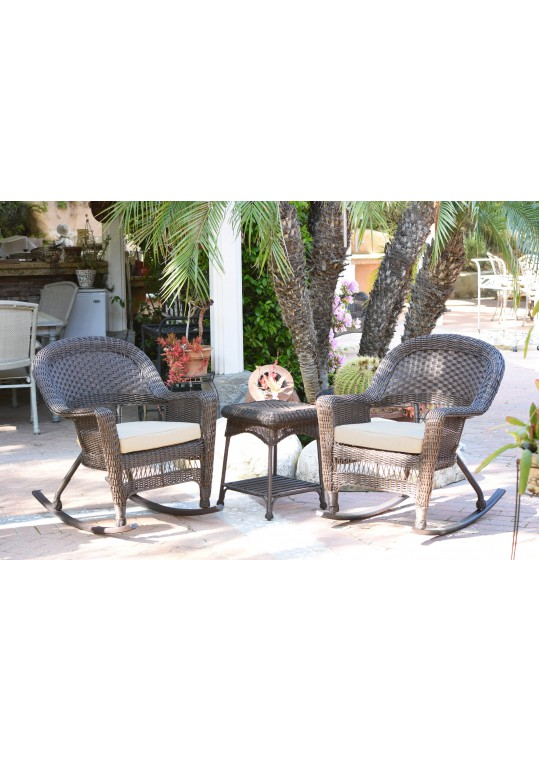 3pc Espresso Rocker Wicker Chair Set With Ivory Cushion