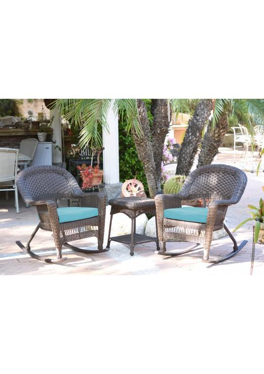 3pc Espresso Rocker Wicker Chair Set With Sky Blue Cushion