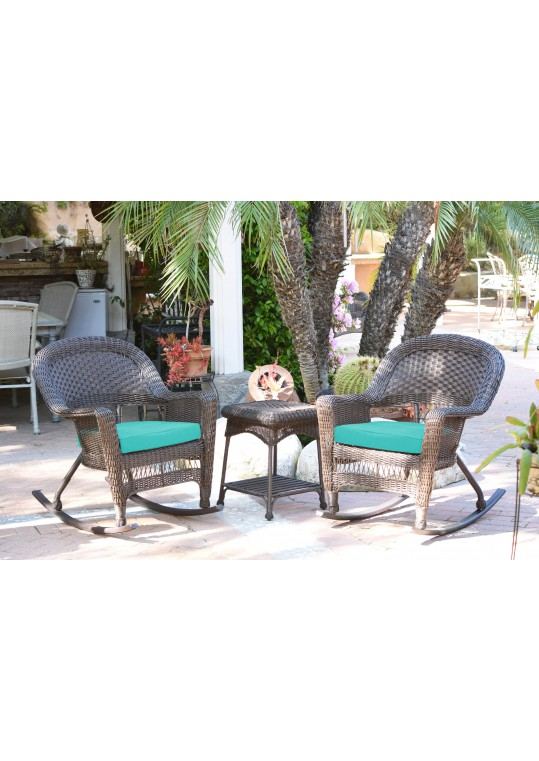 3pc Espresso Rocker Wicker Chair Set With Turquoise Cushion