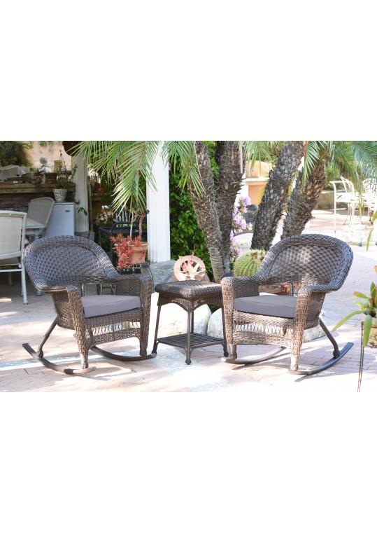 3pc Espresso Rocker Wicker Chair Set With Steel Blue Cushion