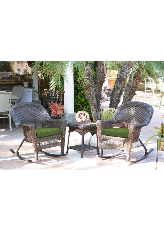 3pc Espresso Rocker Wicker Chair Set With Hunter Green Cushion