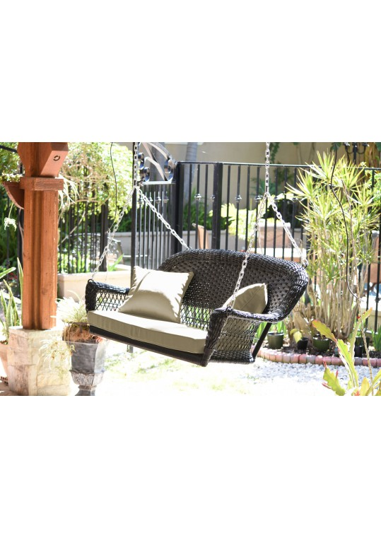 Espresso Resin Wicker Porch Swing with Tan Cushion