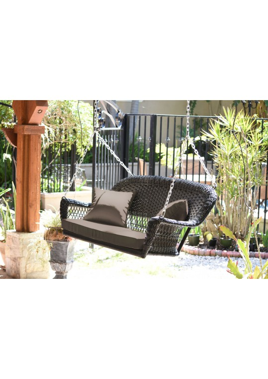 Espresso Resin Wicker Porch Swing with Brown Cushion