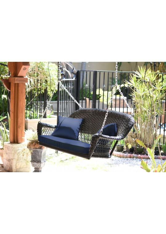 Espresso Resin Wicker Porch Swing with Midnight Blue Cushion