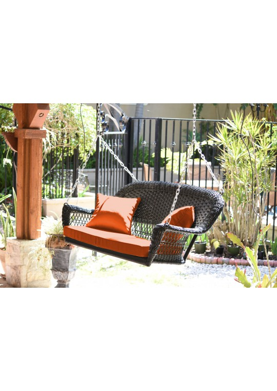 Espresso Resin Wicker Porch Swing with Orange Cushion