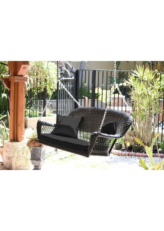 Espresso Resin Wicker Porch Swing with Black Cushion