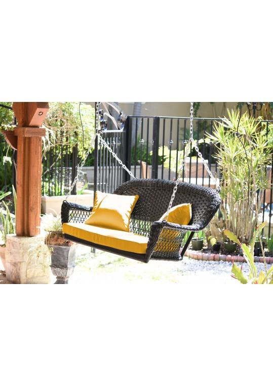 Espresso Resin Wicker Porch Swing with Mustard Cushion