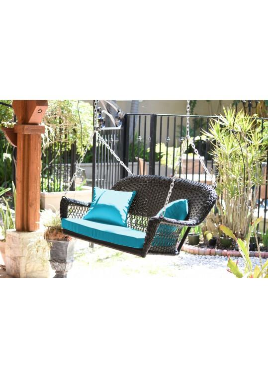 Espresso Resin Wicker Porch Swing with Sky Blue Cushion