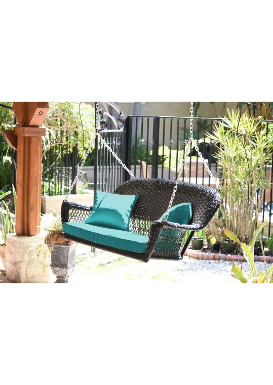 Espresso Resin Wicker Porch Swing with Turquoise Cushion