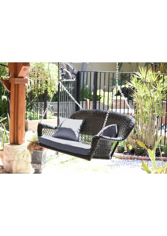 Espresso Resin Wicker Porch Swing with Steel Blue Cushion